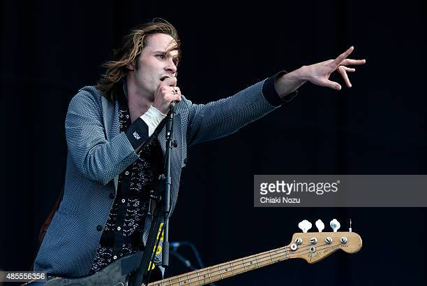 Alexander Jesson of Palma Violets performs on Day 1 of The Reading Festival at Richfield Avenue on August 28, 2015 in Reading, England.