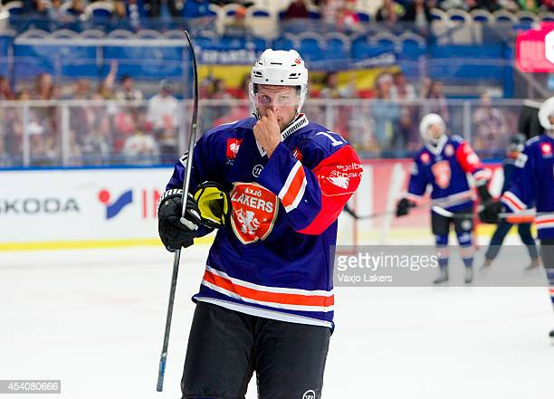 Alexander Johansson of Växjö Lakers shows his dejection during the Champions Hockey League group stage game between Vaxjo Lakers and Sparta Prague on...