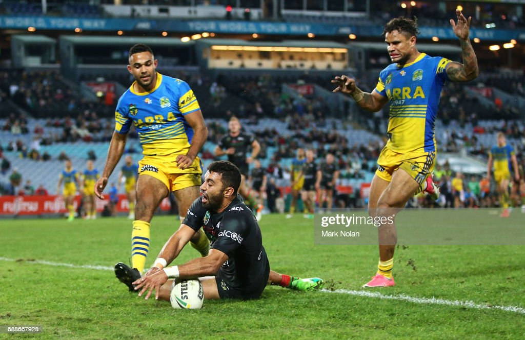 Alexander Johnston of the Rabbitohs scores a try during the round 12 NRL match between the South Sydney Rabbitohs and the Parramatta Eels at ANZ Stadium on May 26, 2017 in Sydney, Australia.