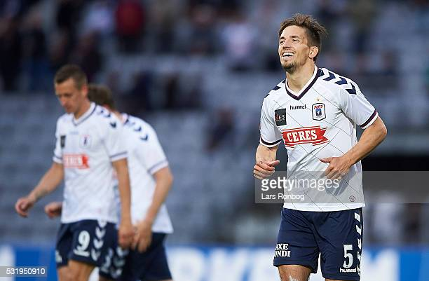 Alexander Juel Andersen of AGF Aarhus celebrates after scoring their first goal during the Danish Alka Superliga match between AGF Aarhus and AaB...