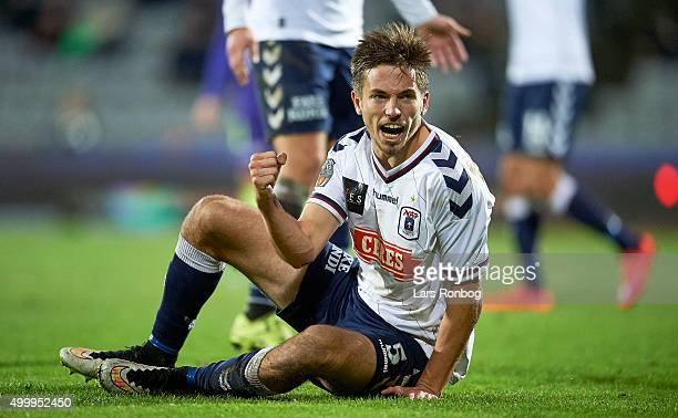 Alexander Juel Andersen of AGF Aarhus celebrates during the Danish Alka Superliga match between AGF Aarhus and FC Midtjylland at Ceres Park on...