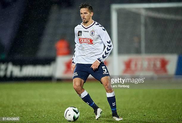 Alexander Juel Andersen of AGF Aarhus controls the ball during the Danish Alka Superliga match between AGF Aarhus and FC Copenhagen at Ceres Park on...