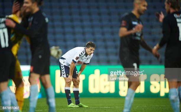 Alexander Juel Andersen of AGF Aarhus looks dejected after the Danish Alka Superliga match between AGF Aarhus and Sonderjyske at Ceres Park on March...