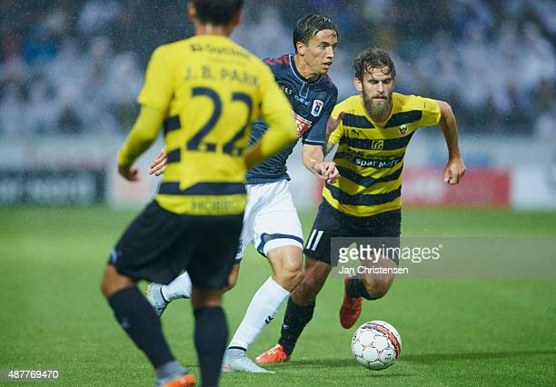 Alexander Juel Andersen of AGF Arhus and Mads Jessen of Hobro IK compete for the ball during the Danish Alka Superliga match between Hobro IK and AGF...