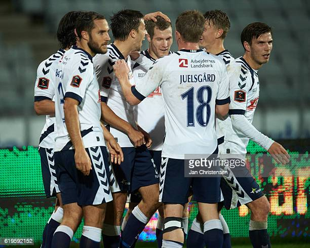 Alexander Juel Andersen of AGF Arhus and teammates celebrating his 62 goal during the Danish Alka Superliga match between AGF Arhus and Esbjerg fB at...