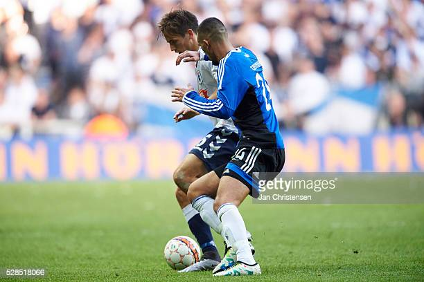 Alexander Juel Andersen of AGF Arhus and Youssef Toutouh of FC Copenhagen compete for the ball during the DBU Pokalen Cup Final match between AGF...