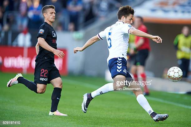 Alexander Juel Andersen of AGF Arhus controls the ball during the Danish Alka Superliga match between FC Midtjylland and AGF Arhus at MCH Arena on...