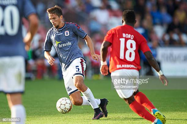 Alexander Juel Andersen of AGF Arhus controls the ball during the Danish Alka Superliga match between Silkeborg IF and AGF Arhus at Mascot Park on...
