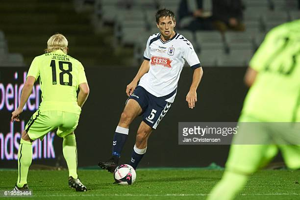 Alexander Juel Andersen of AGF Arhus controls the ball during the Danish Alka Superliga match between AGF Arhus and Esbjerg fB at Ceres Park on...