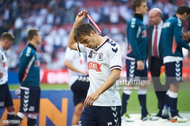Alexander Juel Andersen of AGF Arhus receive silver after the DBU Pokalen Cup Final match between AGF Arhus and FC Copenhagen at Telia Parken Stadium...