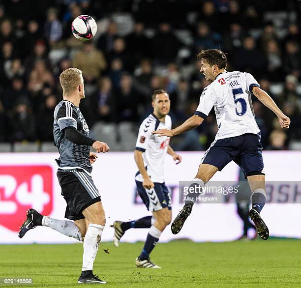 Alexander Juel Andersen of AGF controls the ball during the Danish Alka Superliga match between AGF Aarhus and FC Copenhagen at Ceres Park on...