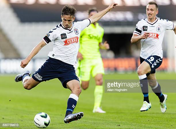 Alexander Juel Andersen of AGF in action during the Danish Alka Superliga match between AGF Aarhus and Esbjerg fB at Ceres Park on May 11 2016 in...