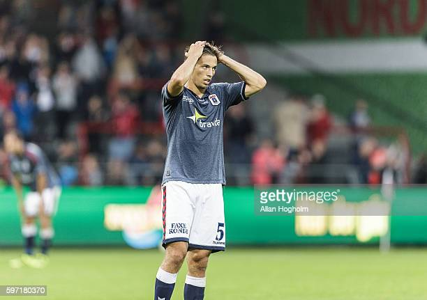 Alexander Juel Andersen of AGF looks dejected after the Danish Alka Superliga match between AaB Aalborg and AGF Aarhus at Nordjyske Arena on August...