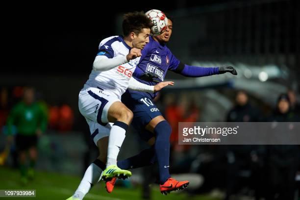Alexander Juel Andersen of Vendsyssel FF and Evander Ferreira of FC Midtjylland heading the ball during the Danish Superliga match between Vendsyssel...
