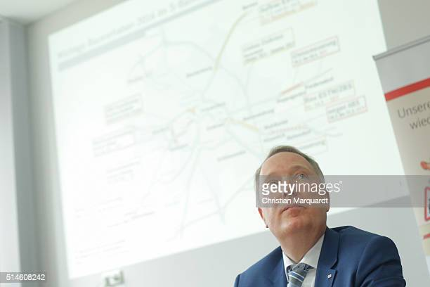 Alexander Kaczmarek Corporate Representative of Deutsche Bahn presents the most important construction projects of DB during a press conference at...