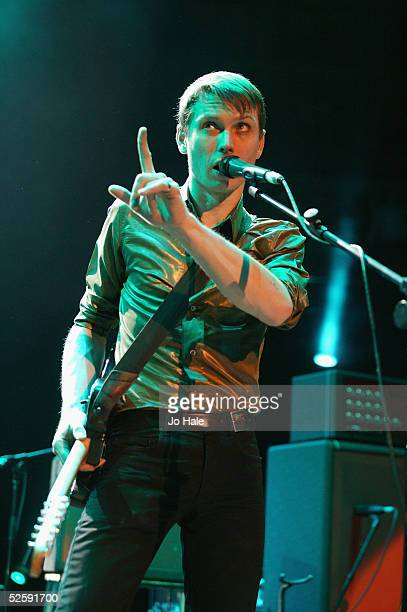 Alexander Kapranos of Franz Ferdinand perform on stage at the second in a series of 5 charity gigs in aid of the Teenage Cancer Trust which runs from...