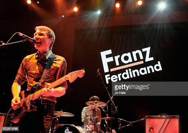 Alexander Kapranos of Franz Ferdinand performs on stage at the second in a series of 5 charity gigs in aid of the Teenage Cancer Trust which runs...