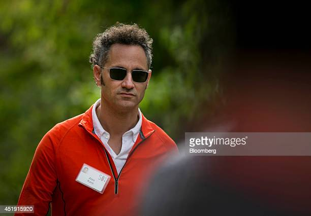Alexander Karp chief executive officer and cofounder of Palantir Technologies Inc leaves a morning session during the Allen Co Media and Technology...