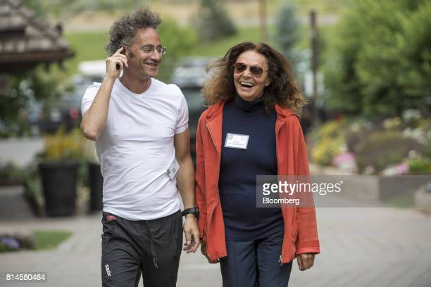 Alexander Karp chief executive officer and cofounder of Palantir Technologies Inc left and Diane von Furstenberg chairman and founder of Diane von...