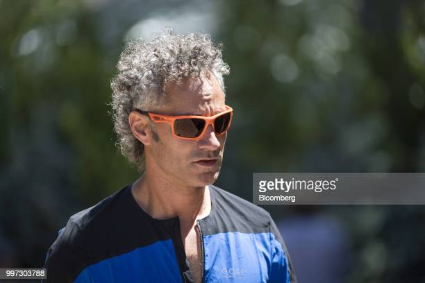 Alexander Karp chief executive officer and cofounder of Palantir Technologies Inc walks the grounds after the morning session at the Allen Co Media...