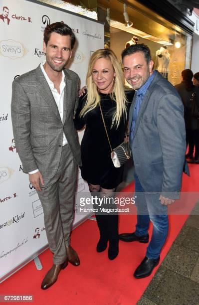 Alexander Keen Birgit FischerHoeper and Pedro da Silva during the 'Kunst Kleid' fashion cocktail on April 25 2017 in Munich Germany