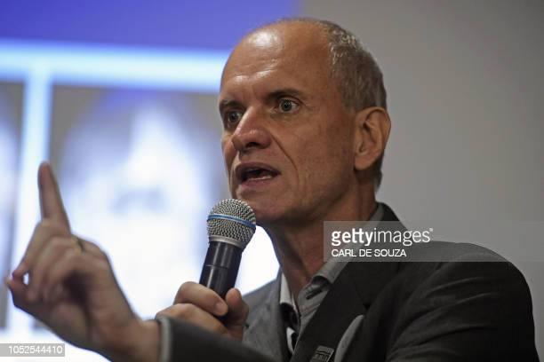 Alexander Kellner the Director of Rio de Janeiro's National Museum speaks during a press conference in Rio de Janeiro Brazil on October 19 2018...