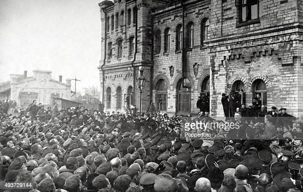 Alexander Kerensky addressing the citizens of St Petersburg circa February 1917