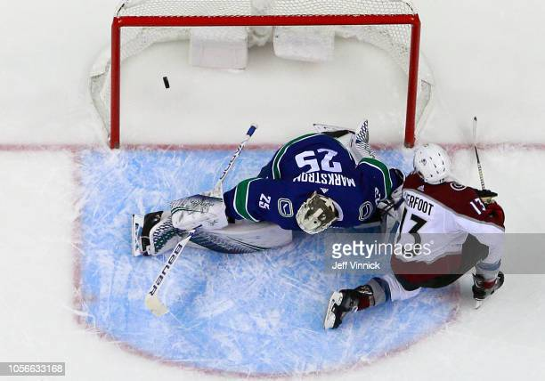 Alexander Kerfoot of the Colorado Avalanche scores on Jacob Markstrom of the Vancouver Canucks during their NHL game at Rogers Arena November 2 2018...