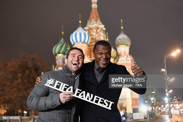 Alexander Kerzhakov and Marcel Desailly pose in Red Square after the announcement of the new 2018 FIFA Fan Fest Ambassadors for the 2018 FIFA World...