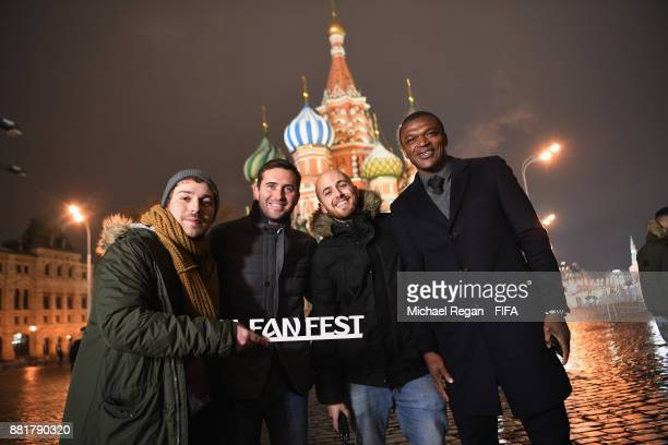 Alexander Kerzhakov and Marcel Desailly pose with fans in Red Square after the announcement of the new 2018 FIFA Fan Fest Ambassadors for the 2018...