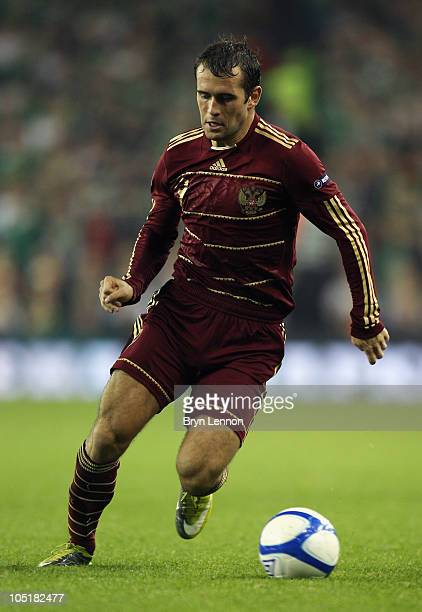 Alexander Kerzhakov of Russia in action during the EURO 2012 Qualifier Group B match between the Republic of Ireland and Russia at Lansdowne Road on...