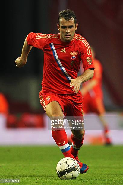 Alexander Kerzhakov of Russia in action during the International Friendly between Denmark and Russia at Parken Stadium on February 29 2012 in...