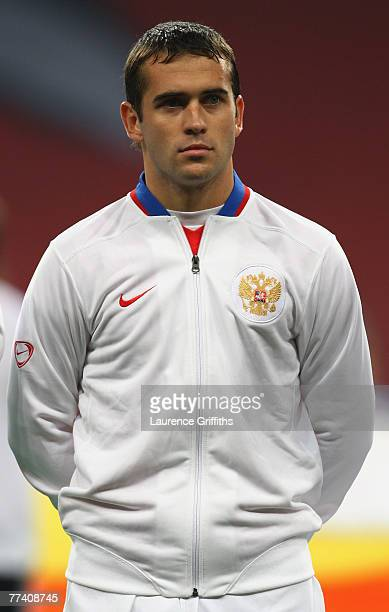 Alexander Kerzhakov of Russia lines up before the Euro 2008 qualifying match between Russia and England at The Luzhniki Stadium on October 17 2007 in...