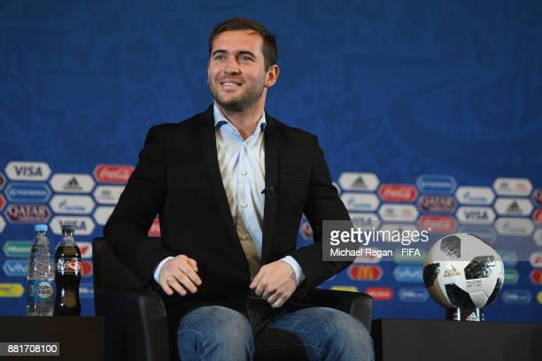 Alexander Kerzhakov speaks to the media during the announcement of the new 2018 FIFA Fan Fest Ambassadors for the 2018 FIFA World Cup at the media...