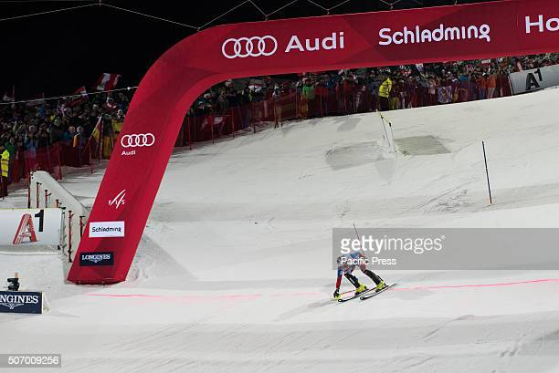 Alexander Khoroshilov from Russia crossing finish line at the Nightrace Slalom in Schladming