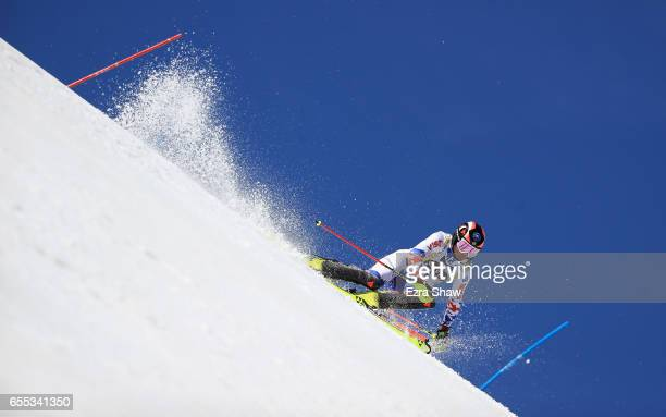 Alexander Khoroshilov of Russia skis his second run in the men's slalom during the 2017 Audi FIS Ski World Cup Finals at Aspen Mountain on March 19...