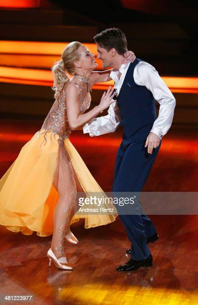 Alexander Klaws and Isabel Edvardsson perform during the 1st Show of 'Let's Dance' on RTL at Coloneum on March 28, 2014 in Cologne, Germany.