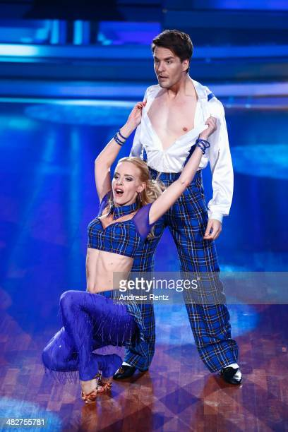 Alexander Klaws and Isabel Edvardsson perform on stage during the 2nd Show of 'Let's Dance' on RTL at Coloneum on April 4 2014 in Cologne Germany