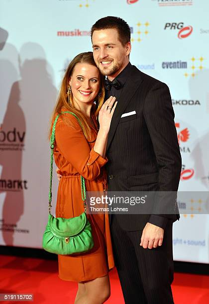 Alexander Klaws and Nadja Scheiwiller attend the LEA Live Entertainment Award 2016 at Festhalle Frankfurt on April 4 2016 in Frankfurt am Main Germany