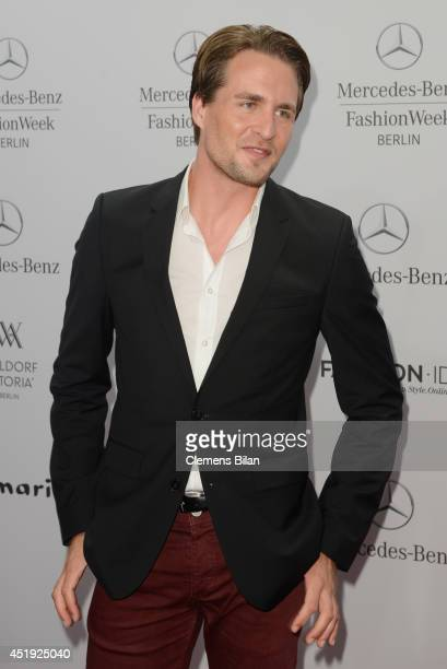 Alexander Klaws attends the Guido Maria Kretschmer show during the MercedesBenz Fashion Week Spring/Summer 2015 at Erika Hess Eisstadion on July 9...