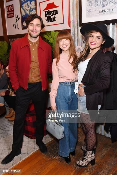 Alexander Koch Jennifer Kim and Paola Lazaro of 'Black Bear' attend the Pizza Hut x Legion M Lounge during Sundance Film Festival on January 25 2020...
