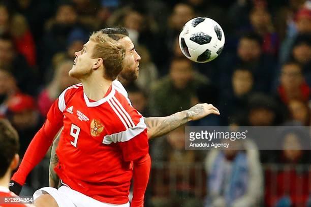 Alexander Kokorin of Russia in action during the international friendly match between Russia and Argentina at BSA OC 'Luzhniki' Stadium in Moscow...