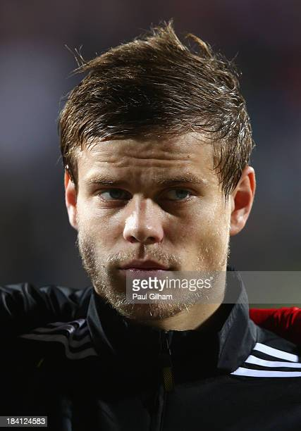 Alexander Kokorin of Russia looks on during the national anthem during the FIFA 2014 World Cup Qualifier Group F match between Luxembourg and Russia...