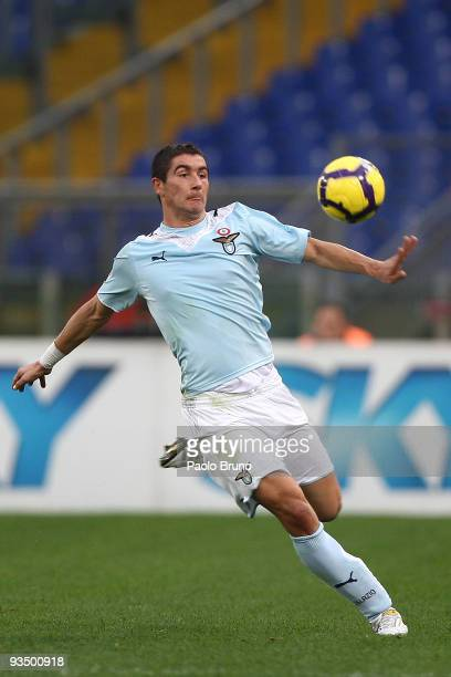Alexander Kolarov of SS Lazio in action during the Serie A match between SS Lazio and Bologna FC at Stadio Olimpico on November 29 2009 in Rome Italy