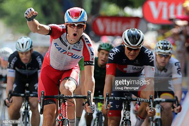 Alexander Kristoff of Noraway and Team Katusha celebrates as he wins the fifteenth stage of the 2014 Tour de France, a 222km stage between Tallard...