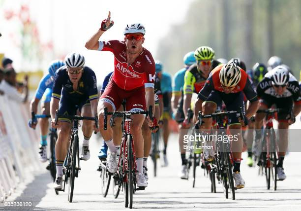 Alexander Kristoff of Norway and Team Katusha Alpecin celebrates winning stage one of the 8th Tour of Oman, a 176.5km stage from Al Sawadi Beach to...