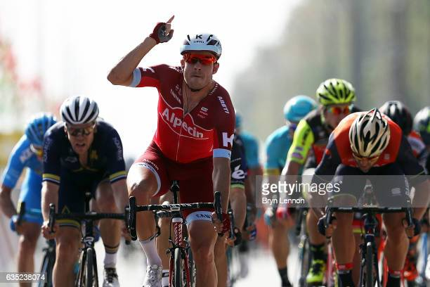 Alexander Kristoff of Norway and Team Katusha Alpecin celebrates winning stage one of the 8th Tour of Oman a 1765km stage from Al Sawadi Beach to...