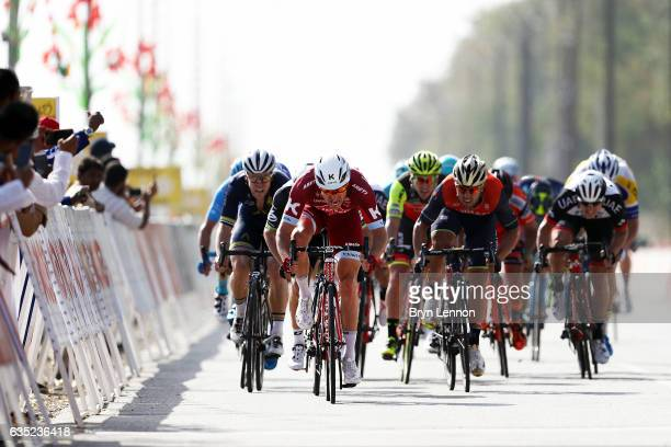 Alexander Kristoff of Norway and Team Katusha Alpecin sprints to victory on stage one of the 8th Tour of Oman a 1765km stage from Al Sawadi Beach to...
