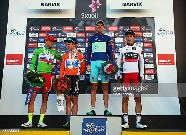 Alexander Kristoff of Norway and Team Katusha August Jensen of Norway and Team CoopOster Hus Rein Taaramae of Estonia and the Astana Pro Team and...