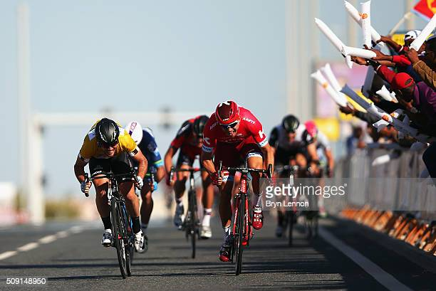 Alexander Kristoff of Norway and Team Katusha beats Mark Cavendish of Great Britain and Dimension Data to the finishline to win stage two of the 2016...